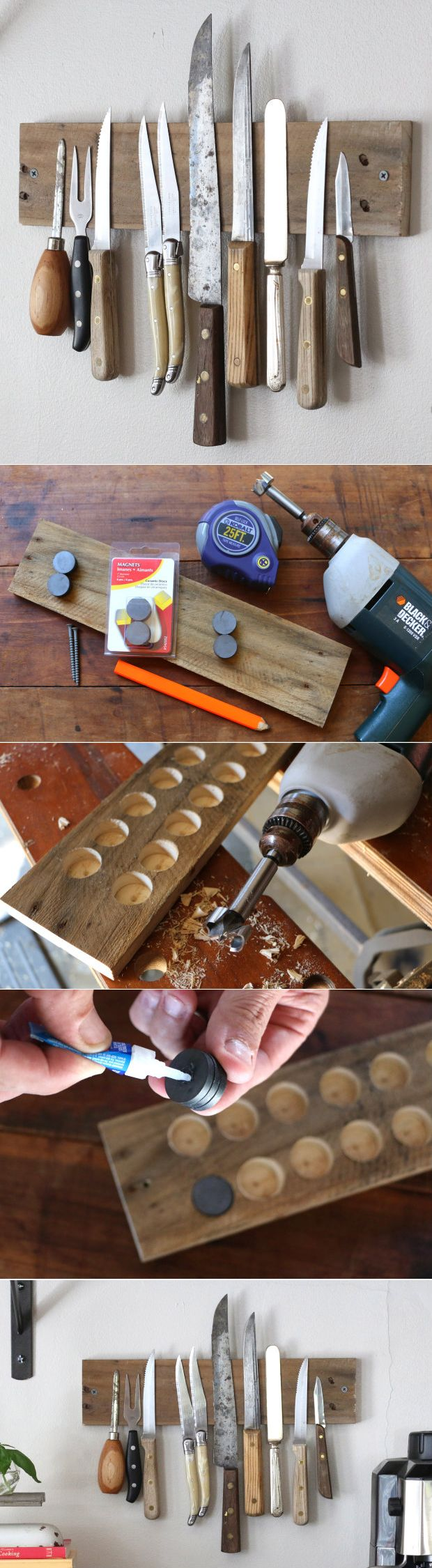 So cool! A DIY magnetic wall display in your kitchen of your favorite knives. Functional too!