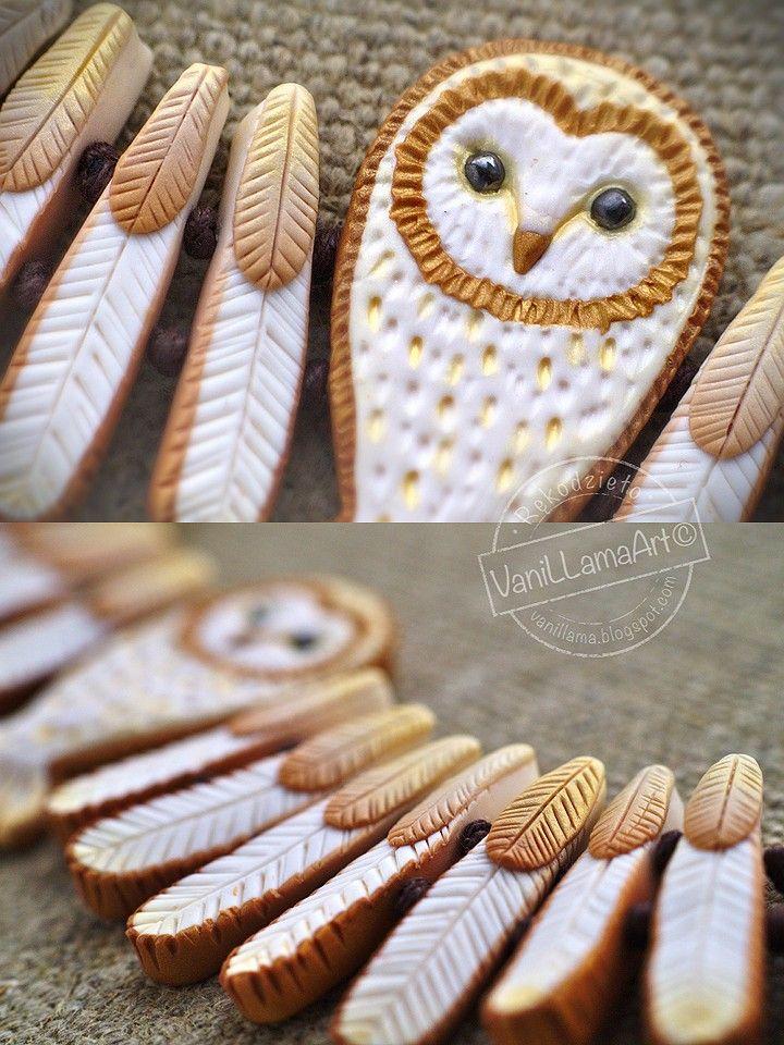 VaniLlamaArt - handmade: Złota Sowa na szyję :) / Barn Owl necklace