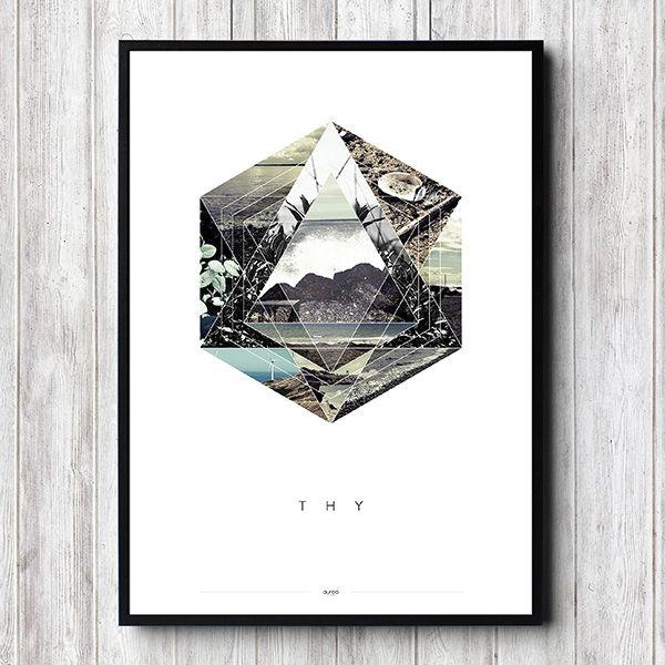 Plakat - Thy, grafisk illustration med billeder fra Thy