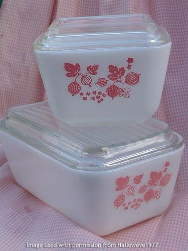 Pink Gooseberry Pyrex refrigerator dishes