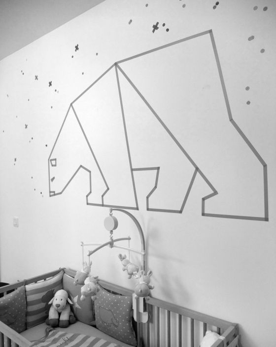 Make a washi tape polar bear on that empty dorm room wall!
