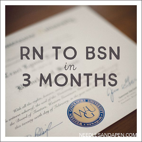 Completing the RN to BSN program at WGU in less than one term!  http://www.needlesandapen.com/rn-to-bsn-in-3-months-wgu-in-less-than-one-term/