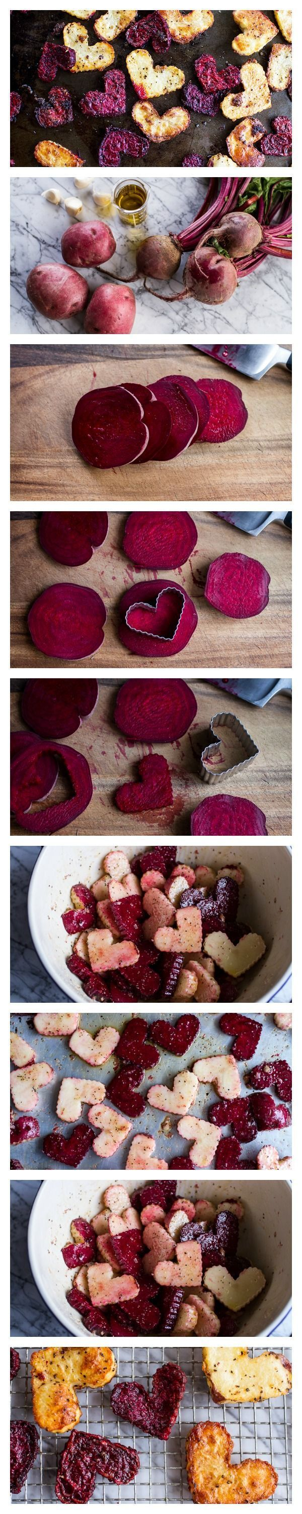 Serve these cute beet and potato hearts alongside your Valentine's Day meal or just for fun to get your kids to eat more vegetables! All clean eating ingredients are used for this healthy side dish recipe. Pin now to make these potatoes and beets later!