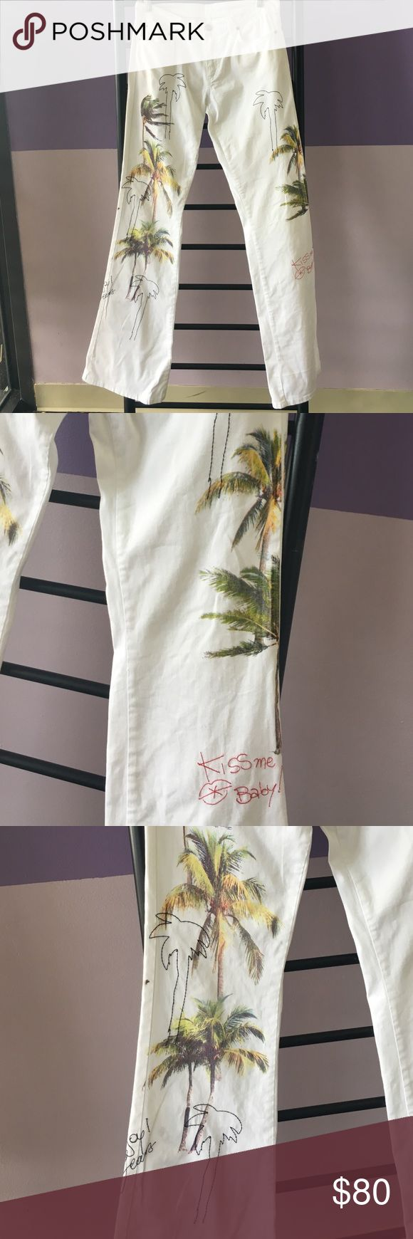"Iceberg jeans Beautiful white with palm trees iceberg jeans. 35"" long .. waist 32"" Jeans Flare & Wide Leg"