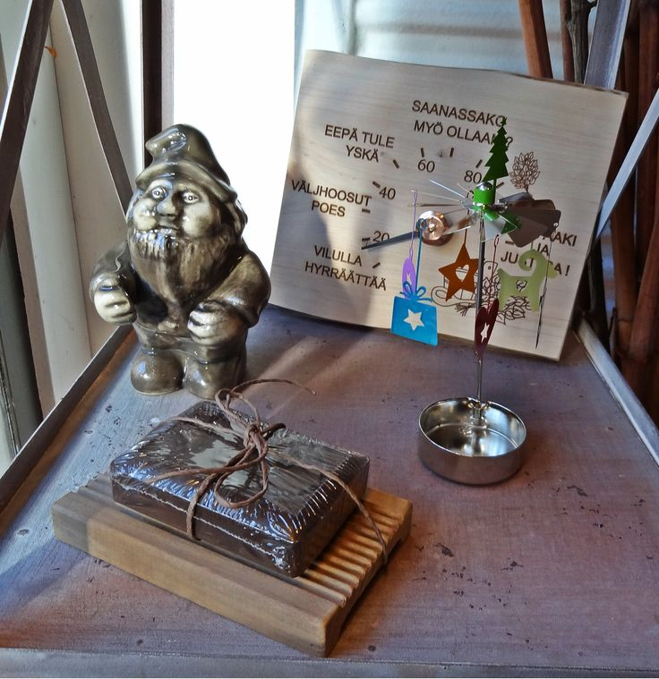 Ceramic sauna elf and best Finnish tar soap.