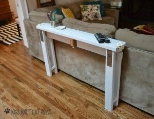 DIY Sofa Table from 2x4s with vintage door hardware - thediybungalow.com