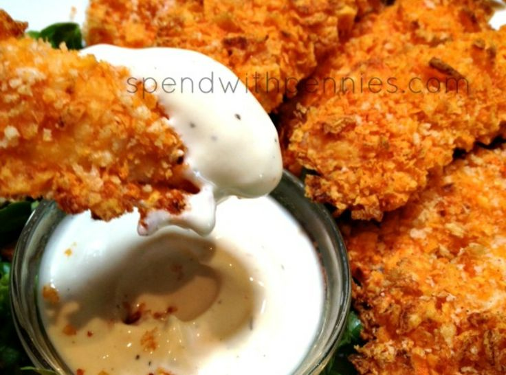 """Doritos Crusted Chicken Strips- Was thinking of trying with Flamin hot Cheetos!! I've been making this recipe with captain crunch chicken (arnold Schwarzenegger fingers?) maybe chicken and waffles lays but i bet any flavor Doritos would be amazing"""