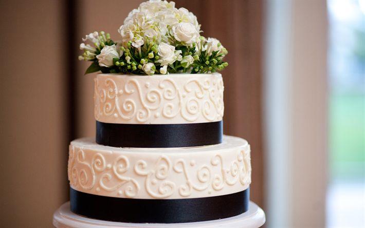 Télécharger fonds d'écran Gâteau de mariage blanc, roses, décoration florale, mariage, des bonbons, des gâteaux
