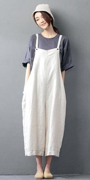 967443ad2971 NAVY BLUE COTTON LINEN CASUAL LOOSE OVERALLS BIG POCKET MAXI SIZE TROUSERS  FASHION JUMPSUIT
