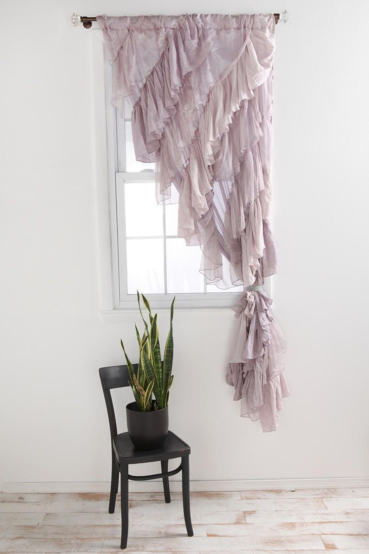 Ombre ruffle curtain - Angled Ruffle Curtain Not My Favorite Fabric For The Job Cause It Looks Like It Would