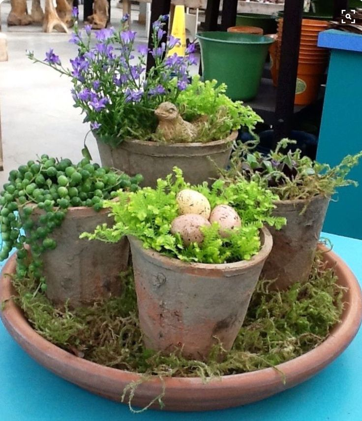 Pots could be accented with real flowers as well