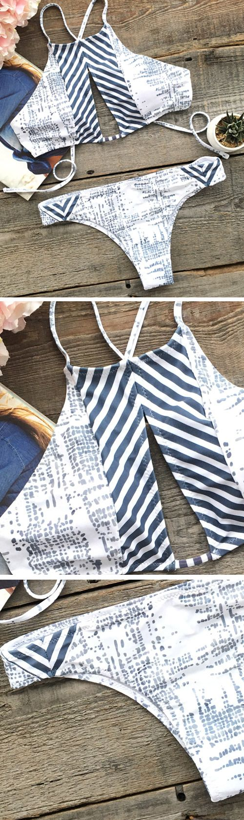 Summer beach time is on, get that tan skin by some perfect swimsuits! Get lost in the stripe and impression printing. Put on your sunglasses and lay on the Southern California beach. You will be a shining star.