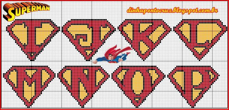 Monograma Super Homem by Dinha ponto cruz