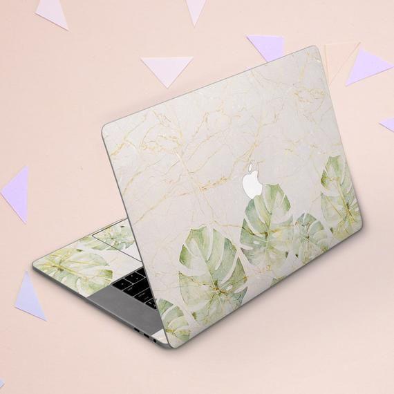 White marble cover Macbook sticker leaves Macbook floral skin Green leaf Marble decor Macbook 2018