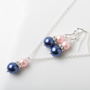 Navy and Pink Bridesmaid  Jewelry Set Navy blue and Pink earrings and necklace Navy wedding jewelry set, bridesmaid gift, Bridal party gift by CharmanteBijoux on Etsy
