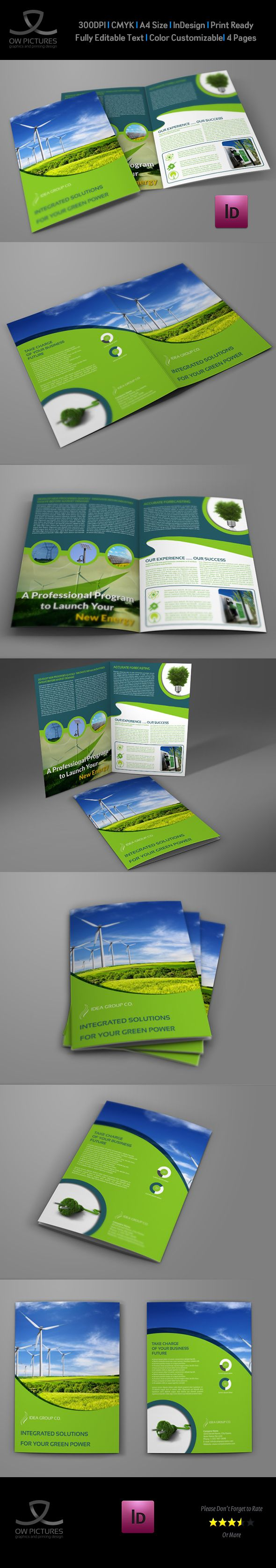 Green Energy Company Brochure Bi-Fold Template on Behance