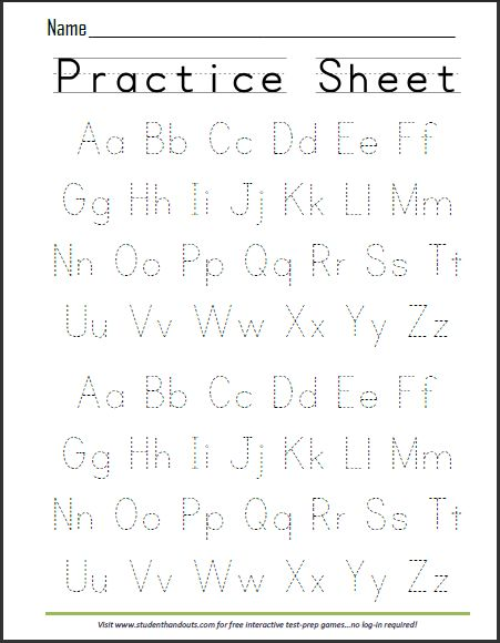 Free Printable ABCs Alphabet Writing Practice Sheet