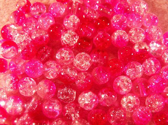100 Mixed Color Red And Pink Two Tone Crackle Glass Beads Hot