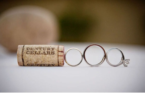 wine corks and wedding rings = good combo
