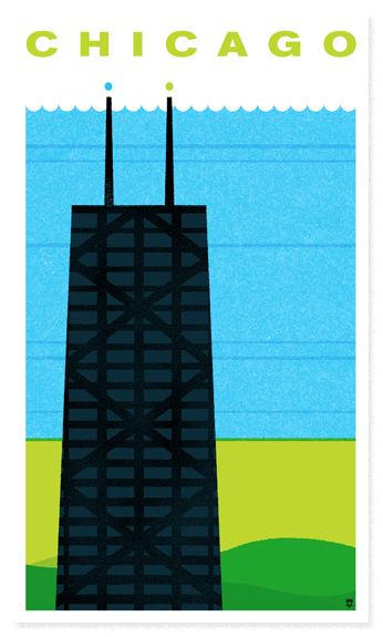 simple graphic of chicago.  i love that they chose the hancock and not the sears tower.