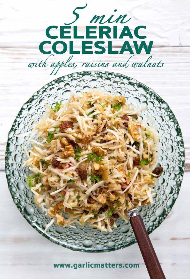 Celeriac coleslaw with apple, raisins and walnuts