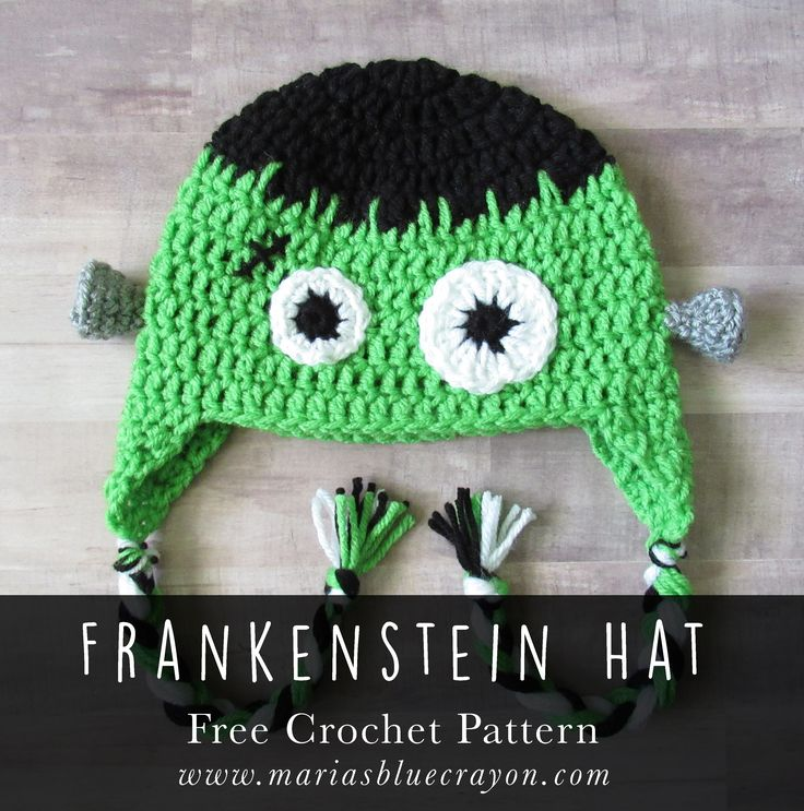 Crochet Frankenstein Hat for Fall | Halloween Trick or Treat Hat | Free Crochet Pattern