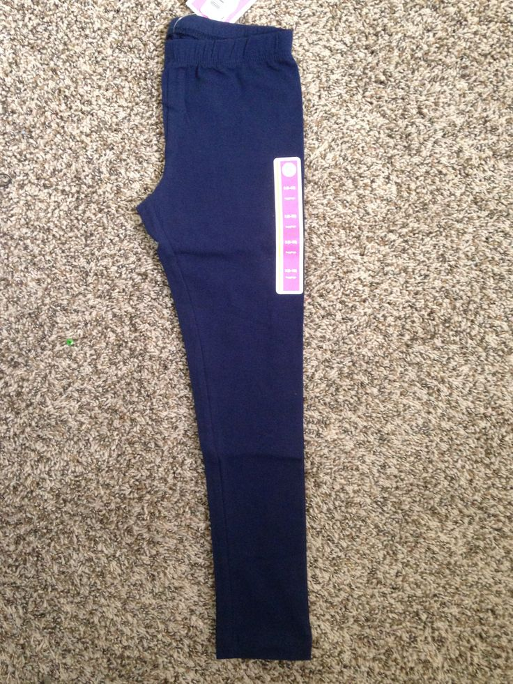 Circo Brand Navy Blue Leggings (Bought Two) A. Target - $6 each B. None C. My daughter prefers leggings to all other pants, so we always make sure to have some uniform colored leggings for school!