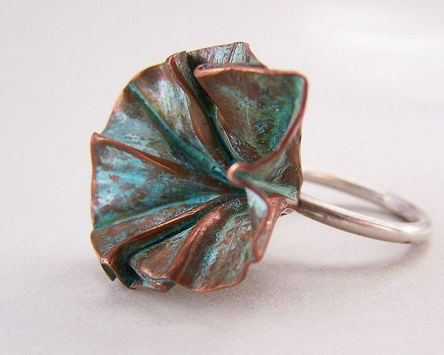 Ring |  Cynthia Del Giudice.  Foldforming copper sheet and silver