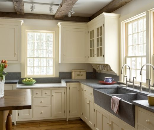Cream Kitchen Soapstone Sink Beams Kitchen And Dining