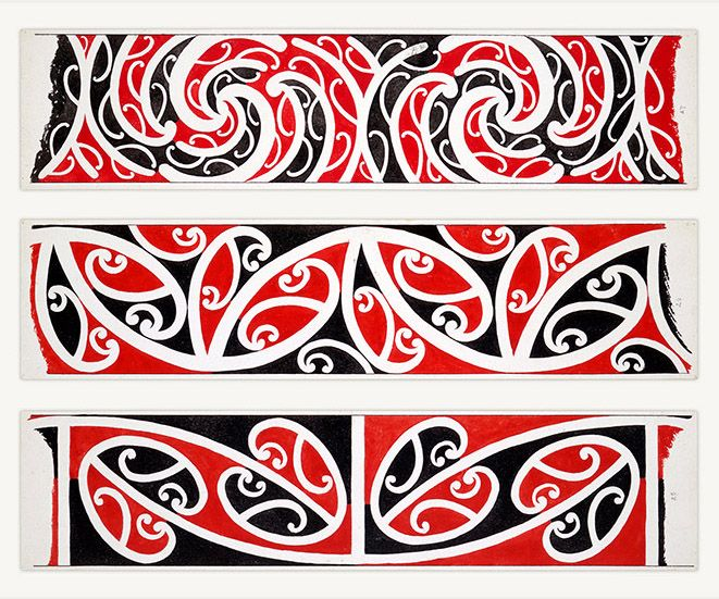 Maori Rafter Designs Nos. 25-26-27 by Herbert Williams (1860-1937) - Sourced from the Alexander Turnbull Library. Reproduction art-prints available from www.imagevault.co.nz