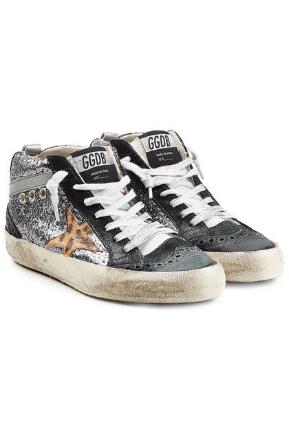 bf1fc7c1b Glitter and Leather Mid Star Sneakers | Golden Goose Deluxe Brand ...