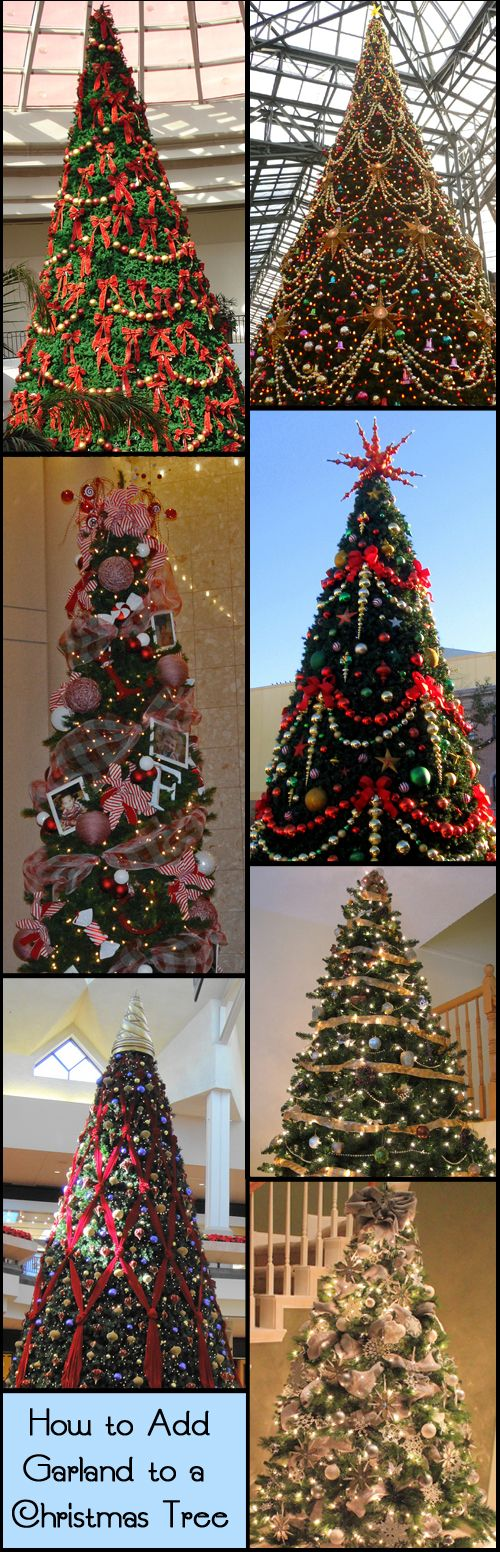 There are many different types of garland that you can use to decorate your Christmas tree - popcorn, ornaments on a string, ribbon, tinsel, beaded garland, pine cones, candy, jingle bells, buttons, sea shells, rope, paper chain, wine corks, or wh...