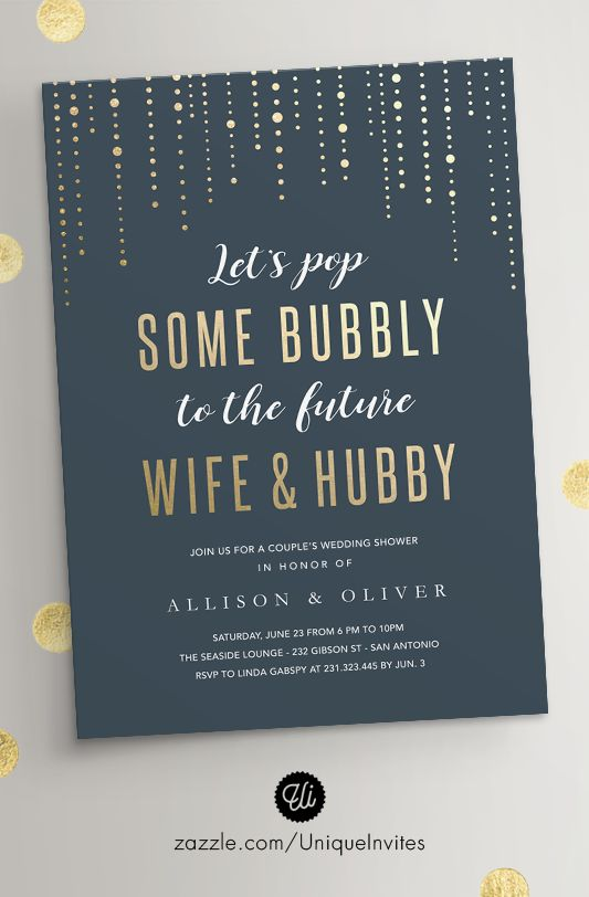 Wedding Shower Invitations - For Couples - Bubbly Gold Design