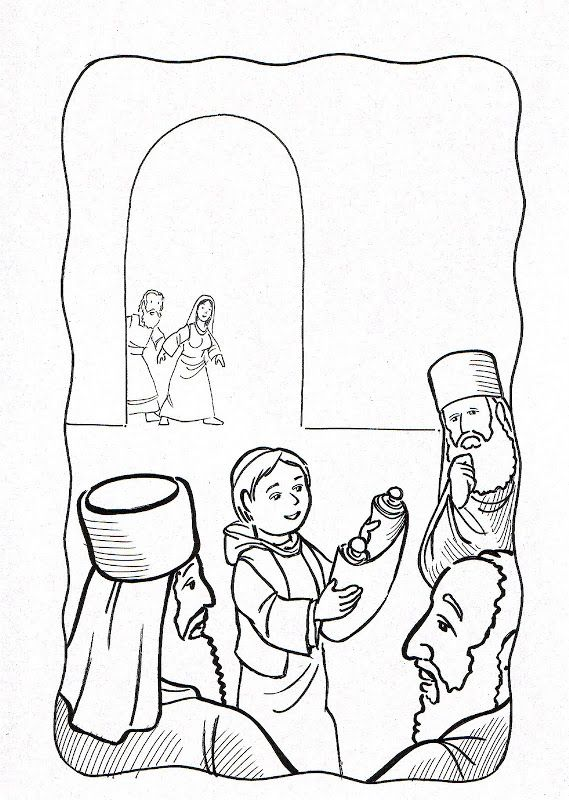 Dibujos Católicos : Niño Jesus hallado en el templo para colorear, pintar e imprimir