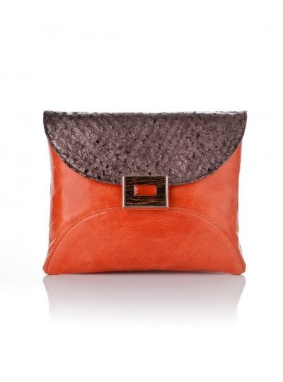 Mani Clutch - Orange and Brown with Fish Skin Leather