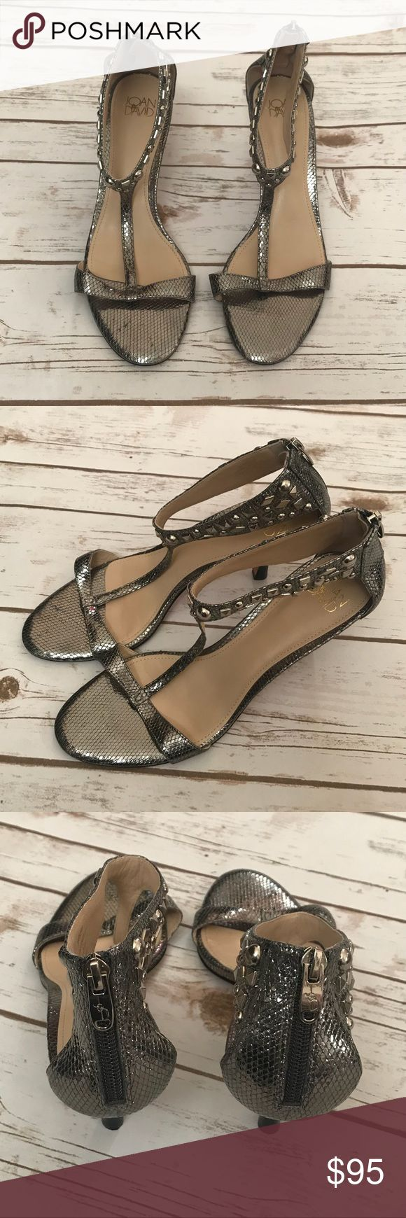 Joan & David Metallic Sandals Metallic leather sandals, with rhinestone decor on ankle strap, size 8.5 Joan & David Shoes Sandals
