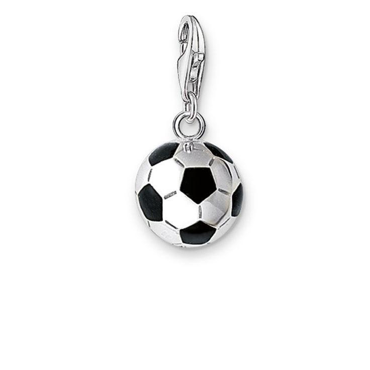 Pendentif «Ballon de football», en argent sterling 925, éclat renforcé par de l'émail noir. (Dimension: 1,1 cm)