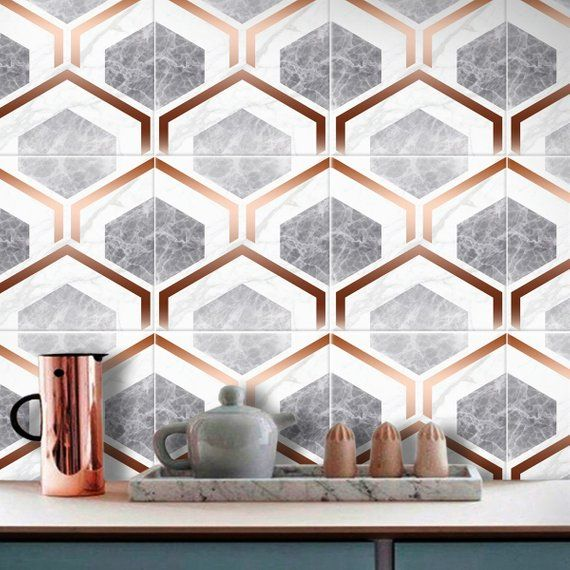 Faux Copper Please Note That Gold Elements Of Design Are Faux Copper And Not Real Metallic Print Orders Are In The Pack Of Copper And Marble Tile Decals Tiles