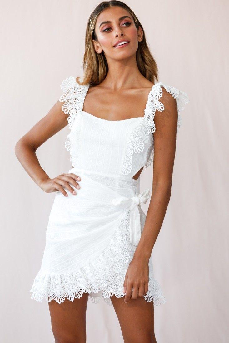 Sonnet Lace Trim Wrap Front Dress White Wrap Front Dress Dresses White Dress [ 1100 x 733 Pixel ]