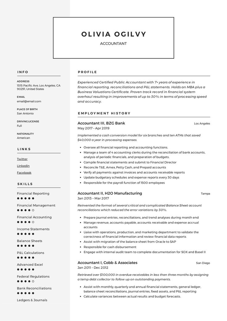 Accountant Resume Template in 2020 Resume writing
