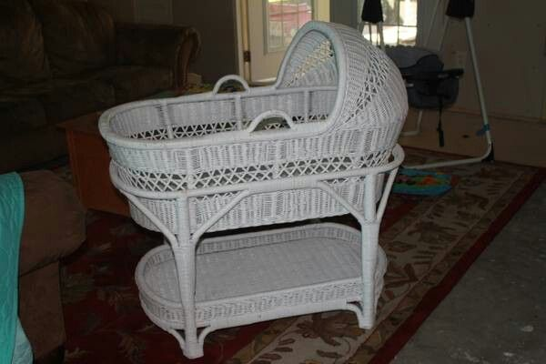 White wicker bassinet