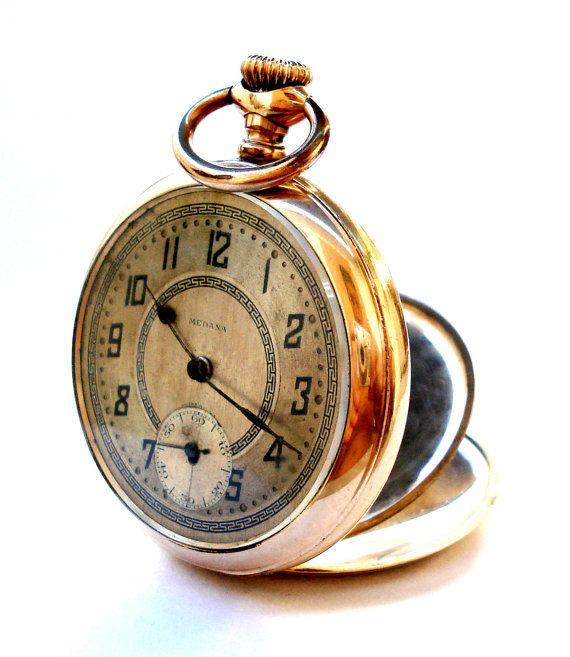 Antiguo Reloj De Bolsillo Suizo MEDANA Art Deco por shopvintage1