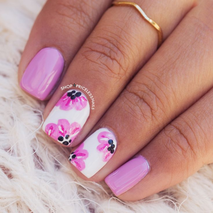 Lilac & pink floral nails