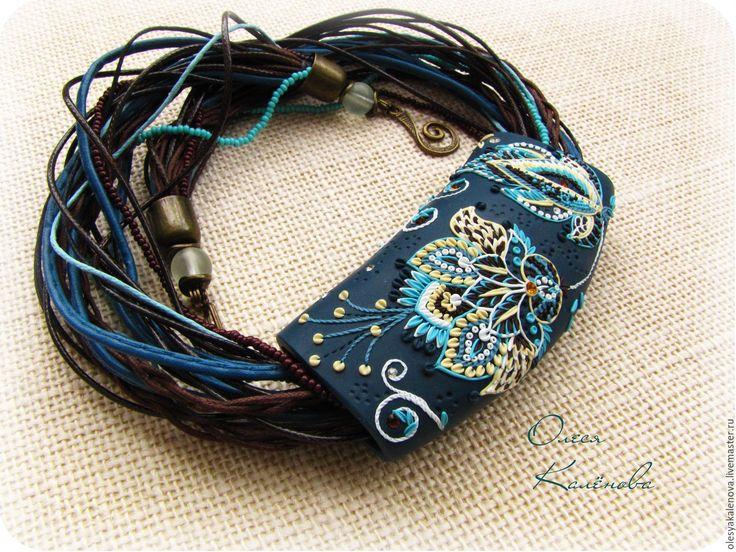 """Купить Колье Кулон из полимерной глины """"Цветы востока"""" - темно-синий, морская волна"""