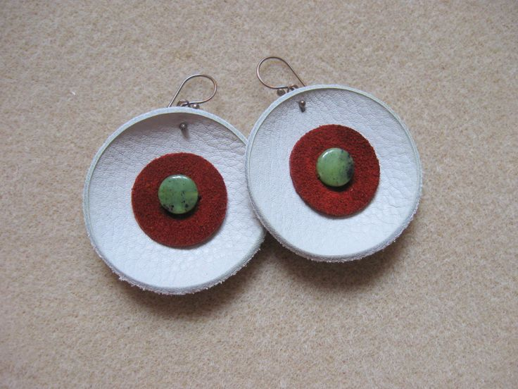 Leather, suede and canadian jade earrings