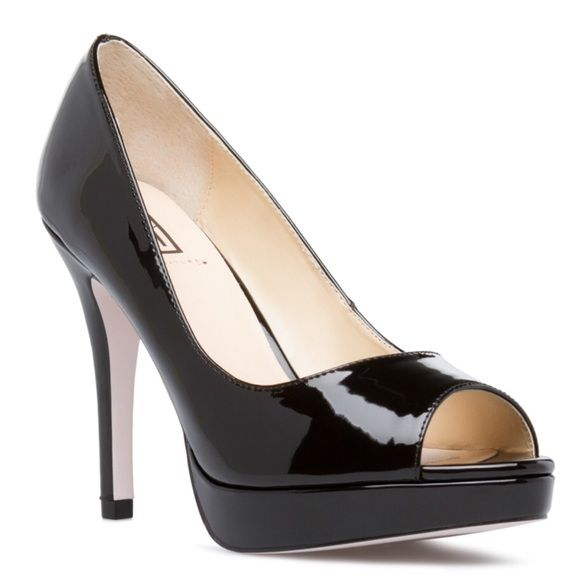 "Black peep toe heels. Brand new, in box, black peep toe heels with cushioned footbed. Classy and beautiful!  Faux patent. Outside heel height- 4"". Inside heel height- 3"". True to size. Shoe Dazzle Shoes Heels"