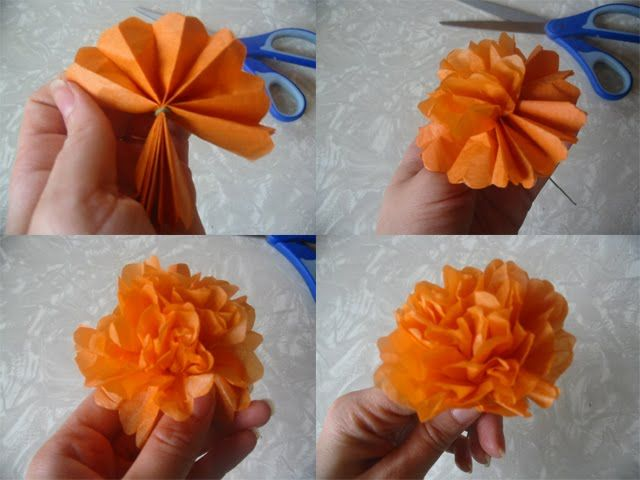 Paper marigolds-- good idea for Day of the Dead destination wedding that a bouqet won't last at