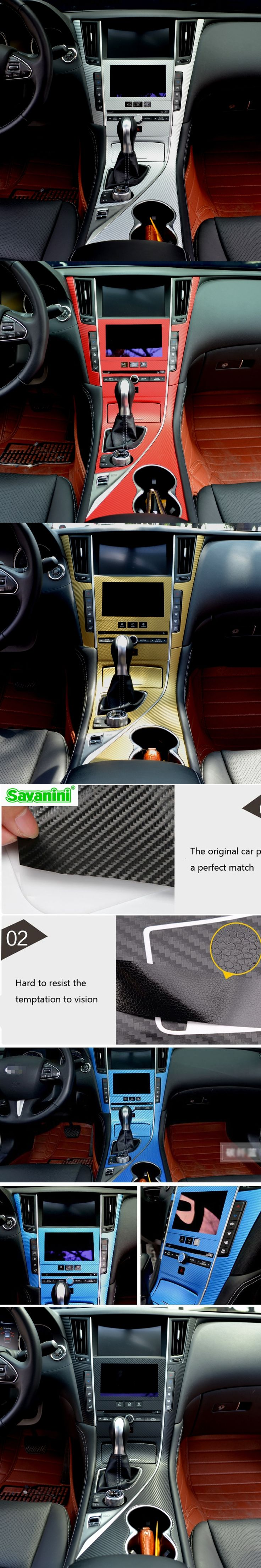 Savanini Car-Styling  New Car Interior Center Console Color Change Carbon Fiber Molding Sticker Decals For Infiniti Q50/Q50L