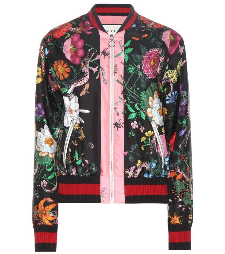GUCCI Printed silk-twill bomber jacket. #gucci #cloth #jackets