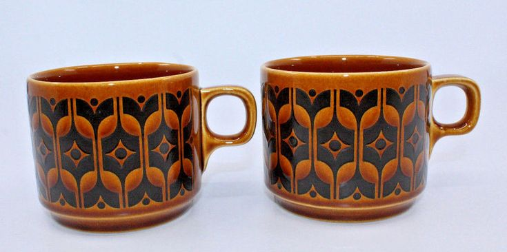 Hornsea Heirloom Brown Coffee Tea Mug Cups Set of 2 Vintage Made in England (B) #Hornsea